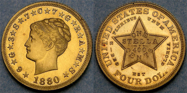 1880 Coiled Hair Gold Stella